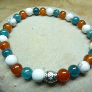 Bracelet Cornaline-Apatite-Howlite - Perles rondes 6 mm