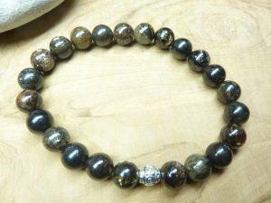 Bracelet Biotite mica - Perles rondes 8 mm