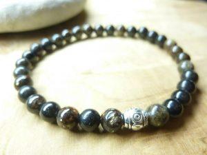 Bracelet Biotite mica - Perles rondes 6 mm
