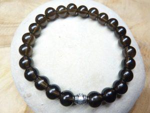 Bracelet Quartz fumé - Perles rondes 8 mm