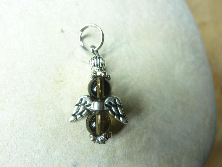 Pendentif Quartz fumé - Perles rondes 6 mm