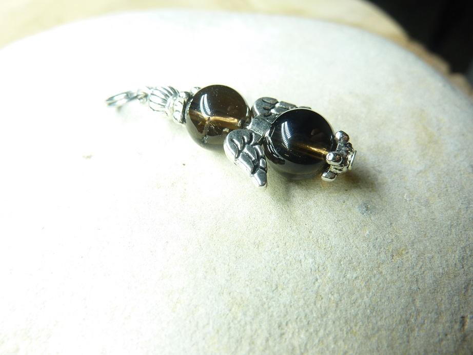 Pendentif Quartz fumé - Perles rondes 8 mm