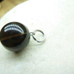 Pendentif Quartz fumé - Perles rondes 14 mm