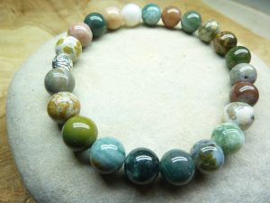 Bracelet Jaspe Océan - Perles rondes 8 mm