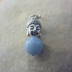 Pendentif Angélite-Bouddha - Perles rondes 10 mm