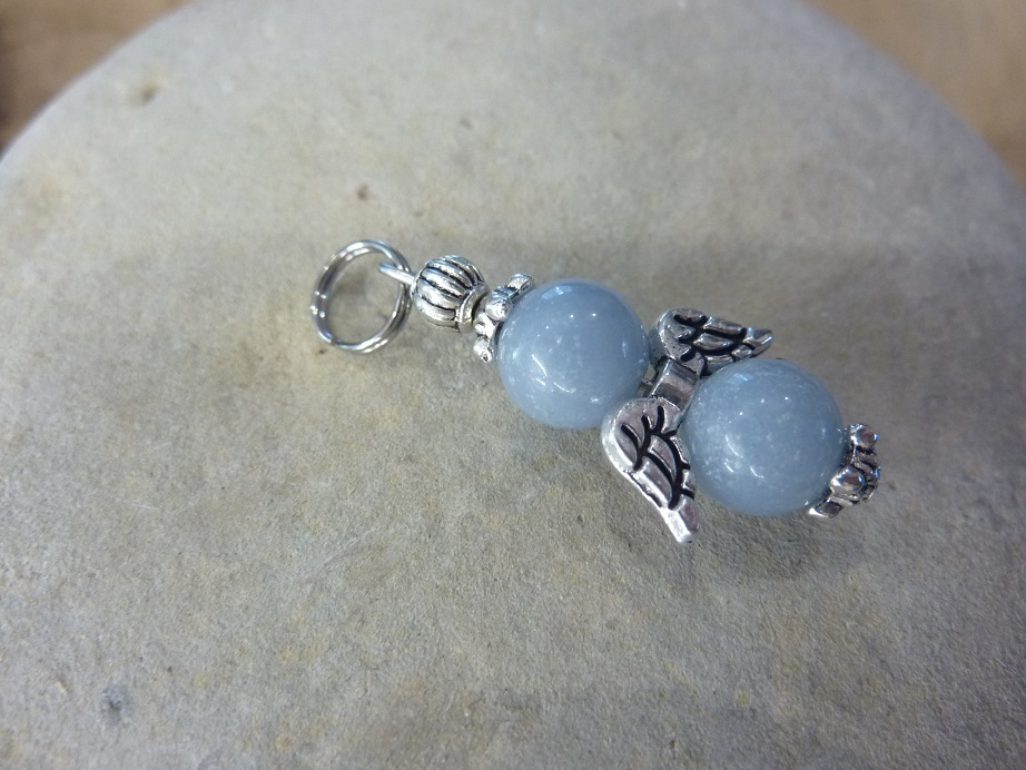 Pendentif Angélite - Perles rondes 8 mm
