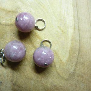 Pendentif Lépidolite - Perles rondes 12 mm