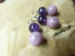 Pendentif Lépidolite-Améthyste - Perles rondes 12-10 mm