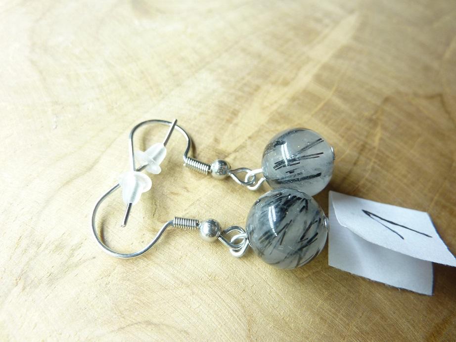 Boucles d'oreilles Quartz tourmaliné - Perles rondes 10 mm