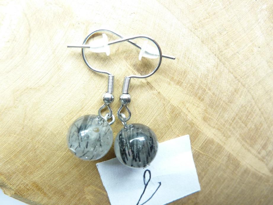 Boucles d'oreilles Quartz tourmaliné - Perles rondes 10 mm ref 2
