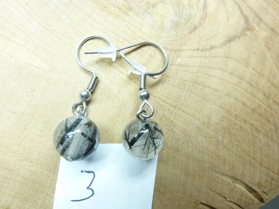 Boucles d'oreilles Quartz tourmaliné - Perles rondes 10 mm ref 3