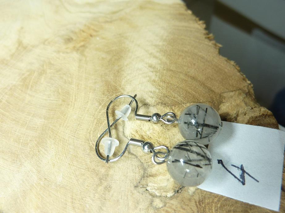 Boucles d'oreilles Quartz tourmaliné - Perles rondes 10 mm ref 4