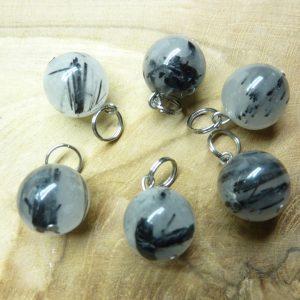 Pendentif Quartz tourmaliné - Perles rondes 12 mm