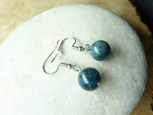 Boucles d'oreilles Cyanite kyanite disthène - Perles 10 mm