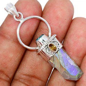 Pendentif quartz aqua aura-Citrine monture argent 925 ref 7865