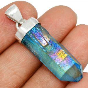 Pendentif quartz aqua aura monture argent 925 ref 8609
