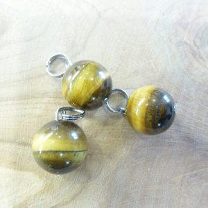 Pendentif Oeil de tigre - Perles rondes 12 mm