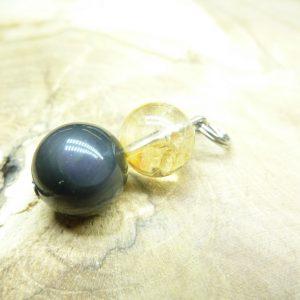 Pendentif citrine-Obsidienne oeil céleste