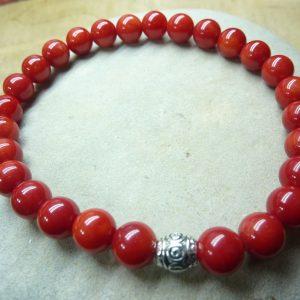 Bracelet Corail rouge - perles rondes 6 mm